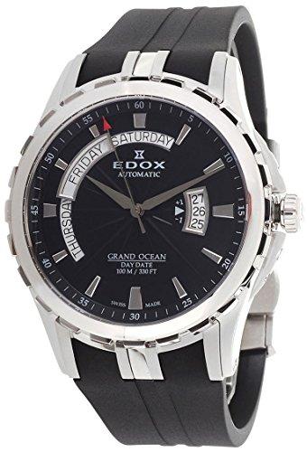 Grand Ocean Automatic Steel Mens Rubber Strap Watch Black Dial Day Date - Edox 83006-3CA-NIN