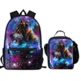 FUIBENG Fashion Backpack Sets Galaxy Wolf Design Water Resistant Scholbag and Insulated Lunch Bag