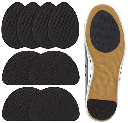 Beautulip Non-Skid Pads for Shoes Noise Reduction Self-Adhesive Slip Resistant Sole Stick Protector Pack of 8 (Black)