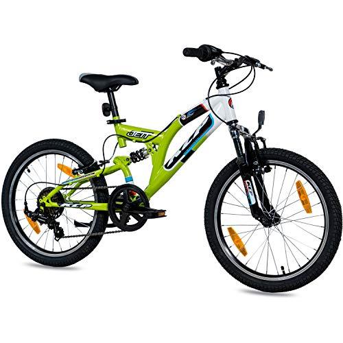 KCP 20 Zoll Mountainbike Kinderfahrrad - JETT FSF weiss grün - Vollfederung Kinder Fahrrad für Jungen und Mädchen mit 6 Gang Shimano Schaltung - für Kinder zwischen 6-9 Jahre und 1,20-1,40m Körpergröße