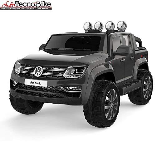 Tecnobike Shop Auto elettrica per Bambini Volkswagen Pick-Up Amarok Sedile in Pelle Ufficiale con Licenza 12 Volt Batteria con Telecomando 2.4 GHz Porte Apribili con MP3 (Nero)