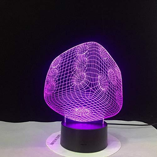 Luz de pantalla acrílica Luz de noche 3D Luz de noche LED Luz de lámpara de mesa que cambia de color Decoración Luz de sensor USB