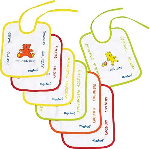 Playshoes Bavaglino da Legare Impermeabile Con Motivo Giocattolo, Set di 7 Pezzi