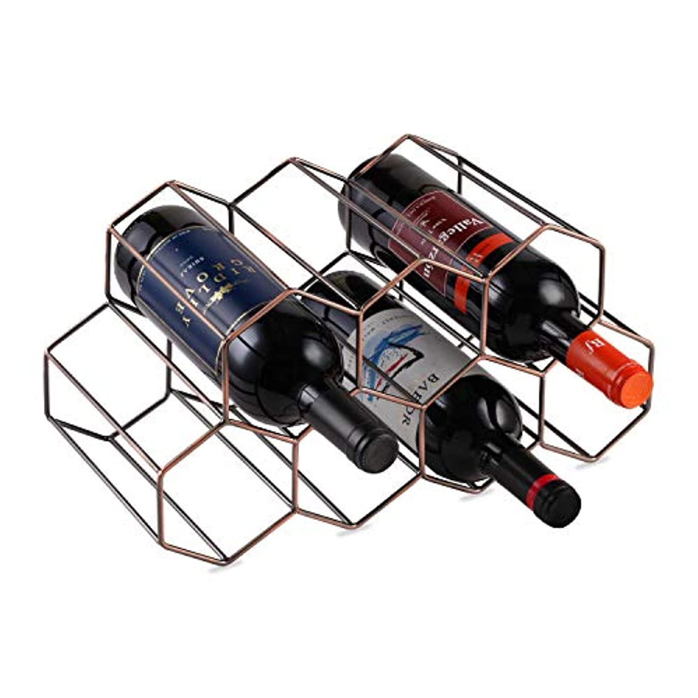 7 Bottles Metal Wine Rack, Countertop Free-stand Wine Storage Holder, Space Saver Protector for Red & White Wines - Bronze