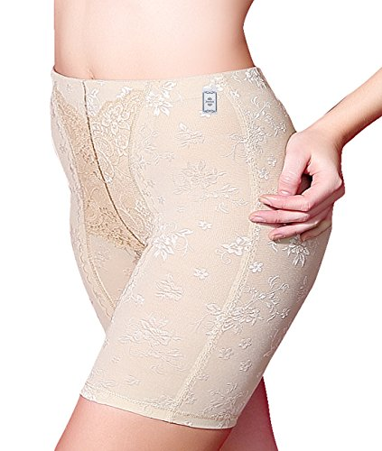 Junlan Women's Shapewear Hi-Waist Tummy Control Boyshort & Thigh Slimmer Panties Brief (M, Beige)