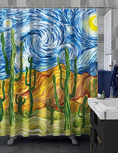 Xstar Sternennacht Duschvorhang Van Gogh abstrakter Kaktus Stoff Vorhang Sommer Modern Funny Aquarell Art mit 12 Ringen 182,9 x 182,9 cm