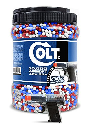Colt 6mm 10,000 Round Jar of BB's with Bonus 25 Spring Airsoft Pistol Inside