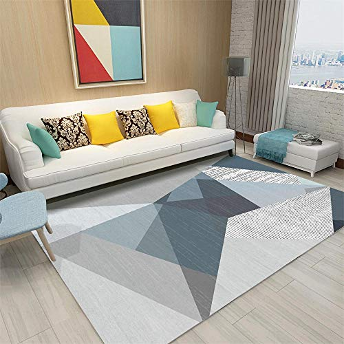 Garden Carpet blue Carpet living room blue triangle geometric pattern anti-mite carpet durable Bed Room Carpets For Floor 160X280CM Outside Rug 5ft 3''X9ft 2.2''