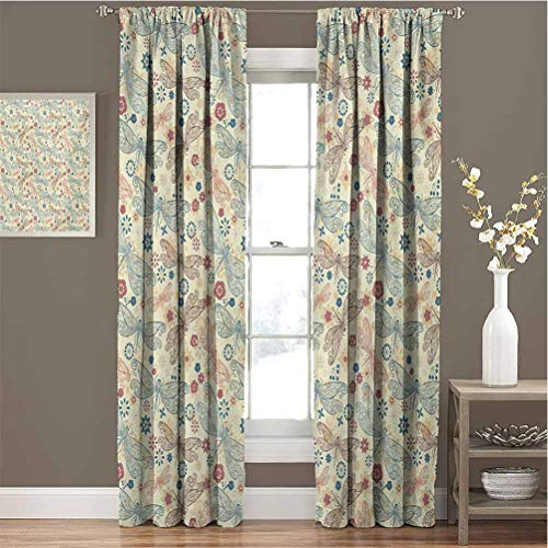 Toopeek Dragonfly Premium Blackout Curtains Vintage Retro Hippie Design with Flower Print Wings Buds Leaves Image Kindergarten Noise Reduction Curtains W72 x L108 Inch Turquoise and Burgundy