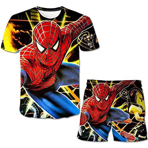 Spiderman, maglietta e pantaloncini da bambino, set da 2 pezzi, maglietta e pantaloncini estivi a maniche corte (stile 3,120)
