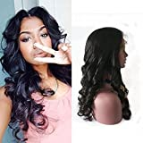 Fanshow Hair Pre Plucked Silk Top 360 Lace Frontal Wig Loose Wave Brazilian Virgin Hair Glueless 360 Lace Wig with Baby Hair 180 Density (10' silk top)