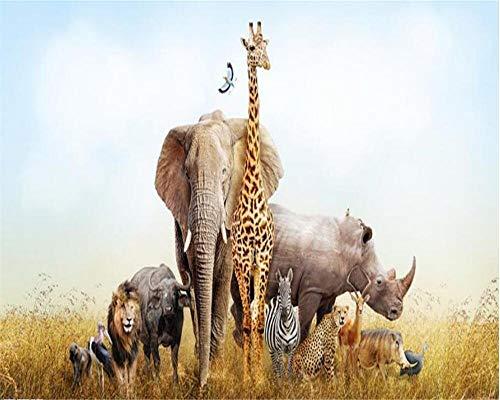 Bdhnmx-fotobehang 3D Groenland dier giraf olifant achtergrond wandschilderij decoratie vlies gedrukt wallpaper Murals 3D 250 cm x 175 cm.