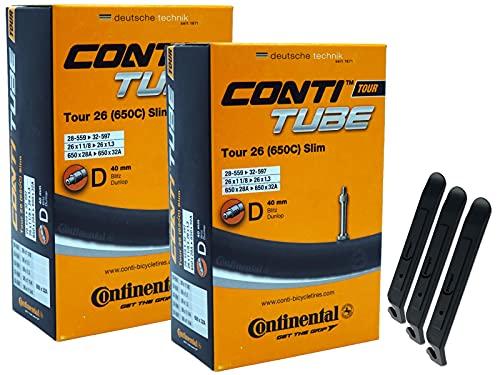 pneugo! Continental Tour Slim - Cámara de aire para bicicleta (2 unidades, 26', válvula de flash 28-559/32-597 (Tour Slim) y 3 desmontadores de neumáticos)
