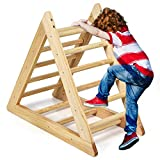 COSTWAY Kletterdreieck aus Holz, Klettergerüst für Kleinkinder ab 3 Jahren, zur Entwicklung grobmotorischer Fähigkeiten, Natur