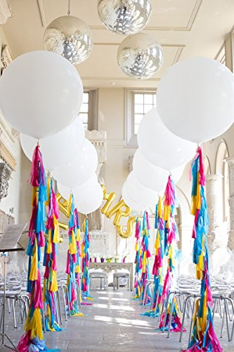 Originals Group 20 Rainbow Tassels Tail Garland with 90cm / 3ft Jumbo Balloon Giant Balloon for Party Wedding Gold Garland Bunting Pom Pom