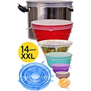 longzon Silicone Stretch Lids, 14 Pack 7 Different Sizes (Exclusive 12'' XXL) Flexible,Durable,Reusable Stretch Food Saving Silicone Food Covers for Cups,Bowls,Mugs,Cans,Using in Microwave&Freezer