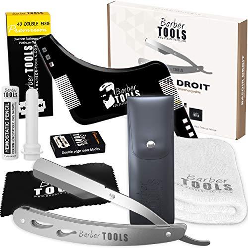 Kit de afeitado – Cuchilla intercambiable + 40 cuchillas dobles (80 hojas sencillas) + paño + barra de alumbre + funda de almacenamiento + toalla de afeitado + peine plantilla (trazador de contorno)