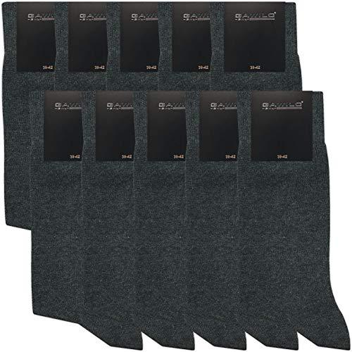 GAWILO 10 Paar PREMIUM Socken ohne drückende Naht   Damen & Herren   gekämmte Baumwolle   Business & Freizeit (39-42, anthrazit melange)