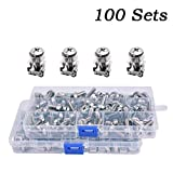 Wang-Data 100 Sets M6 Square Hole Hardware Cage Nuts & Mounting Screws Washers for Server Rack and Cabinet (M6 X 20mm)(screw+washer+cage nut)