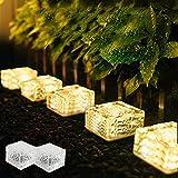 MEDOYOH 2 unidades de 4 LED Solar Bodenleuchte Ice Brick Light Warm Light Light On/Off Lichtsensor solar estanco Bodenstrahler luz luz para exterior jardín Patio Camino Decoración, 7 x 7 x 5 cm