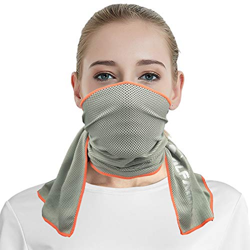 Cooling Towels for Atheletes (Gray/Neon Orange, S) Use as Cooling Neck Headband Bandana Scarf Stay Cool for Travelers Hikers Campers Golfers Hunters Climbers Fishermen Football Players Active People