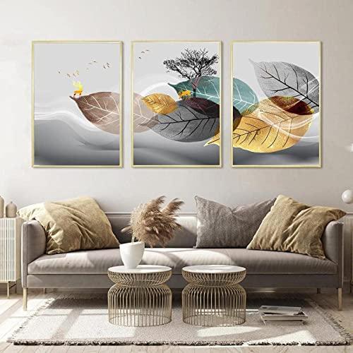 Obra de arte de la lona 3x50x70cm planta de la hoja sin marco pintura de la lona cartel del arte de la pared imagen minimalista moderna decoración de la sala de estar gris azul oro
