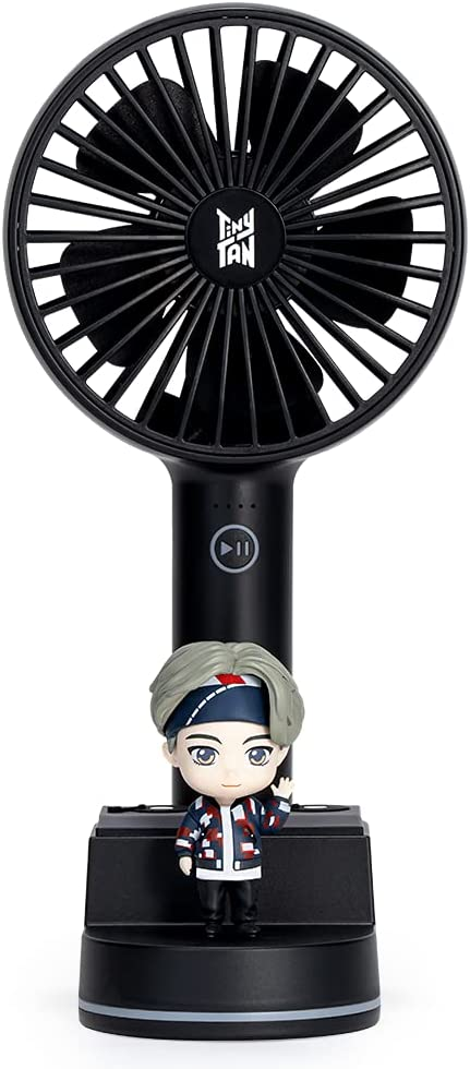 BTS TinyTAN Portable Fan with Stand Cradle – 4 Step Flow Control Desk Fan – Personal Fan with Stand – Ergonomic Handheld Design Mini Fan – Air Volume LED Indicator – USB-C Rechargeable (V)