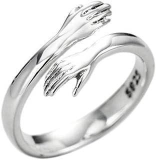 Chereda 925 خاتم فضة رومانسي تعانق الأيدي مفتوحة للنساء الرجال زوجين المجوهرات هدية الزفاف
