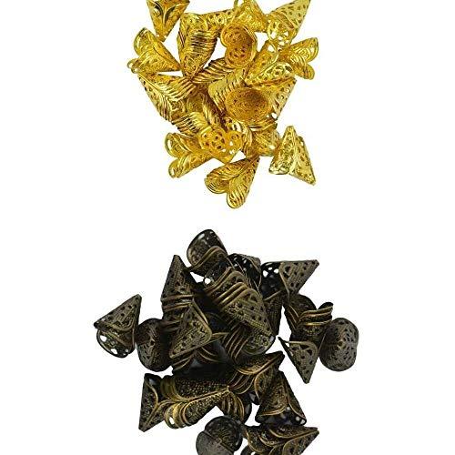 YuKeShop 100 piezas 16x16mm bronce antiguo y color dorado filigrana flor cuentas tapas cono borla engarzado extremo joyería accesorios accesorios accesorios