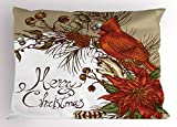 Lunarable Cardinal Pillow Sham, Vintage Inspirations in Floral Arrangement of Christmas Poinsettia and Pine Cones, Decorative Standard Size Printed Pillowcase, 26' X 20', Vermilion Brown