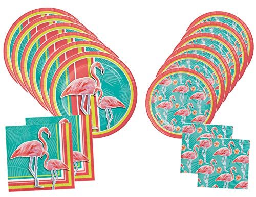 Flamingo Luau Tropical Party Plates and Napkins for 16 Guests - Island Oasis
