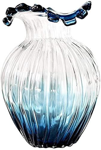Jarrones modernos de vidrio de vidrio de vidrio moderno, moderno, minimalista, minimalista, arreglo de flores, jarrones de mesa para decoración regalo para el jarrón del día de la madre (Color: BlueGr