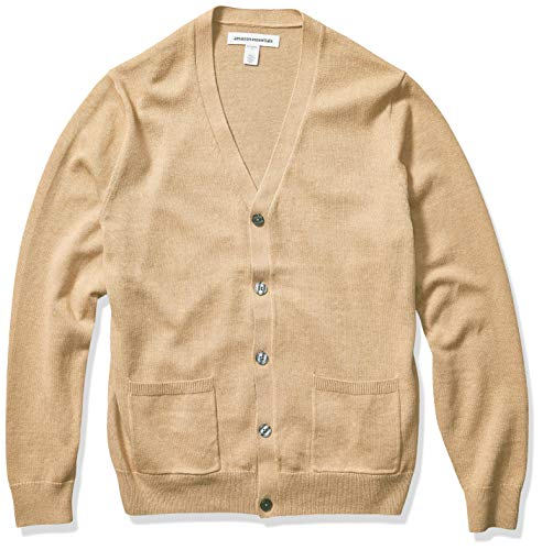 Amazon Essentials Men's Cotton Cardigan Sweater, Camel Heather, Small