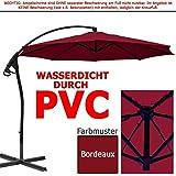 habeig WASSERDICHT Ampelschirm 3m Bordeaux rot durch PVC Schirm 300cm