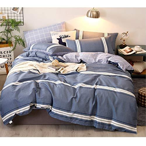 Ensemble de 4 taies d'oreiller avec Housse de Couette et draps (Color : Blue, Size : 1.2 m Bed)