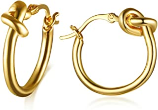 MiAnMiAn Stainless Steel Love Knot Small Hoops Earrings for Girl Women Silver(1 Pair)