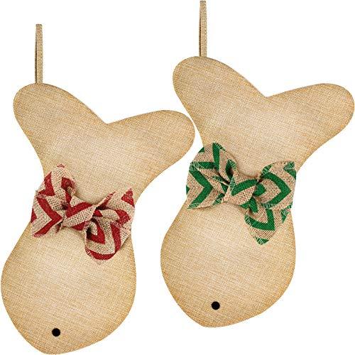 Fish Burlap Christmas Stocking Hanging Xmas Stockings Pet Christmas Stockings with Bowknot for Christmas Holiday Family Decorations (Color Set 2, 2)