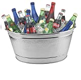 Nutech Impex Round Hammered Stainless Steel Beverage Tub, Oval Wine Tub 15L