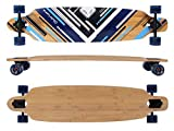 MAXOfit® Deluxe Longboard Charisma Blue No. 02, Drop Through, Nove Strati di Acero Canadese di pregio per 106,5 cm, Cuscinetti ABEC 11