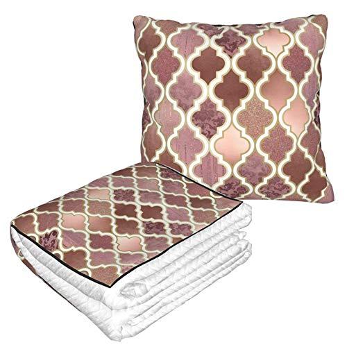 Kissen Decke Premium Samt Soft 2 in 1 Decke mit weicher Tasche Rosegold Pink und Kupfer marokkanische Fliesen Kissenbezug für Zuhause Flugzeug Auto Reisen Filme