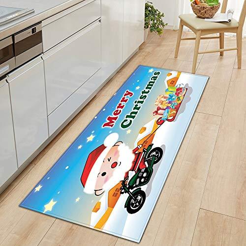 OPLJ Alfombrilla de Cocina Absorbente de Agua, a Prueba de Aceite, para el hogar, Dormitorio, Entrada, Felpudo, Alfombra de Navidad, Alfombra para el Pasillo del hogar, A18, 60x180cm