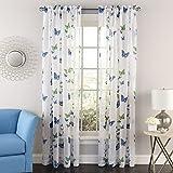 Lorraine Home Fashions 06042-84-00003 BLUE Butterflies Tailored Window Curtain Panel, Blue, 54' X 84'