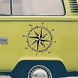 PrintAttack R002 | Autoaufkleber Kompass 50 cm x 50 cm by Windrose | Kompassrose | Wanderlust | Sticker | Auto | Decal | Caravan | Wohnmobil | Wohnwagen (Schwarz)