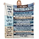 CENSIHER Gift for My Husband Blanket from Wife Throws Blankets Flannel Plush Soft Bedding Sofa Blanket Best Husband Gift for Wedding Birthday Christmas Anniversary Valentine's Day Gifts 60'x50'