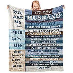 """Material of Ultra-Soft Micro Fleece Blanket: Anti-pilling flannel The Best Husband Gift idea: Engraved with the text """"To my husband, never forget that I love you, I wish I could turn back the clock, so I could give you one thing in life, I would give..."""