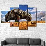 GSDFSD Cuadros Decoracion Dormitorios 5 Piezas 150x80cm - Cuadro sobre Lienzo - Impresión En Lienzo Montado sobre Marco De Madera - Coche Hummer Militar
