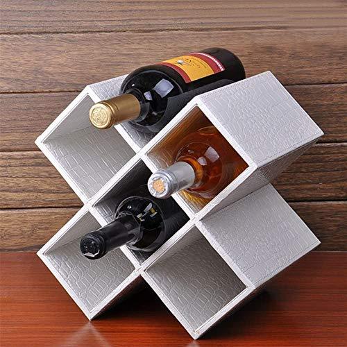 Botellero rústico apilable, Estante del vino MDF + cuero blanco / Negro / marrón / rojo de escritorio moderno minimalista decorativo Bastidores no se requiere ensamblaje fácil almacenamiento disponibl