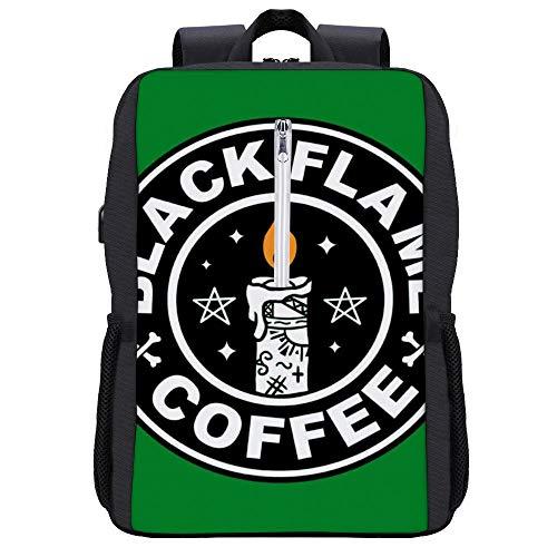 90er Jahre Hocus Pocus Black Flame Candle Coffee Logo Rucksack Daypack Bookbag Laptop Schultasche mit USB-Ladeanschluss