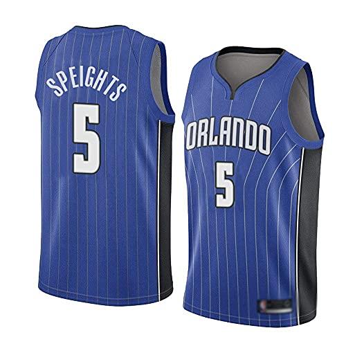 QWE Wo Nice Men's Baloncesto Uniformes, Orlando Magic # 5 Marreese Speights NBA Casual Chaquetas Sueltas Mangas sin Mangas Camisetas de Baloncesto, Azul, M (170~175cm) DOISLL (Color : Blue)