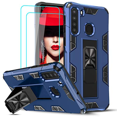 LeYi Compatible with Samsung A21 Case, Samsung Galaxy A21 Case with Tempered Glass Screen Protector [2Pack], Military-Grade Shockproof Built-in Kickstand Car Mount Phone Case for Galaxy A21, Blue